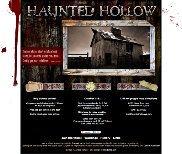 Haunted Hollow homepage